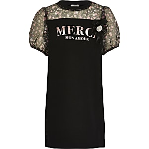 Girls black 'Merci' organza sleeve dress