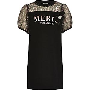 Zwarte jurk met 'Merci'-print en organza mouwen voor meisjes