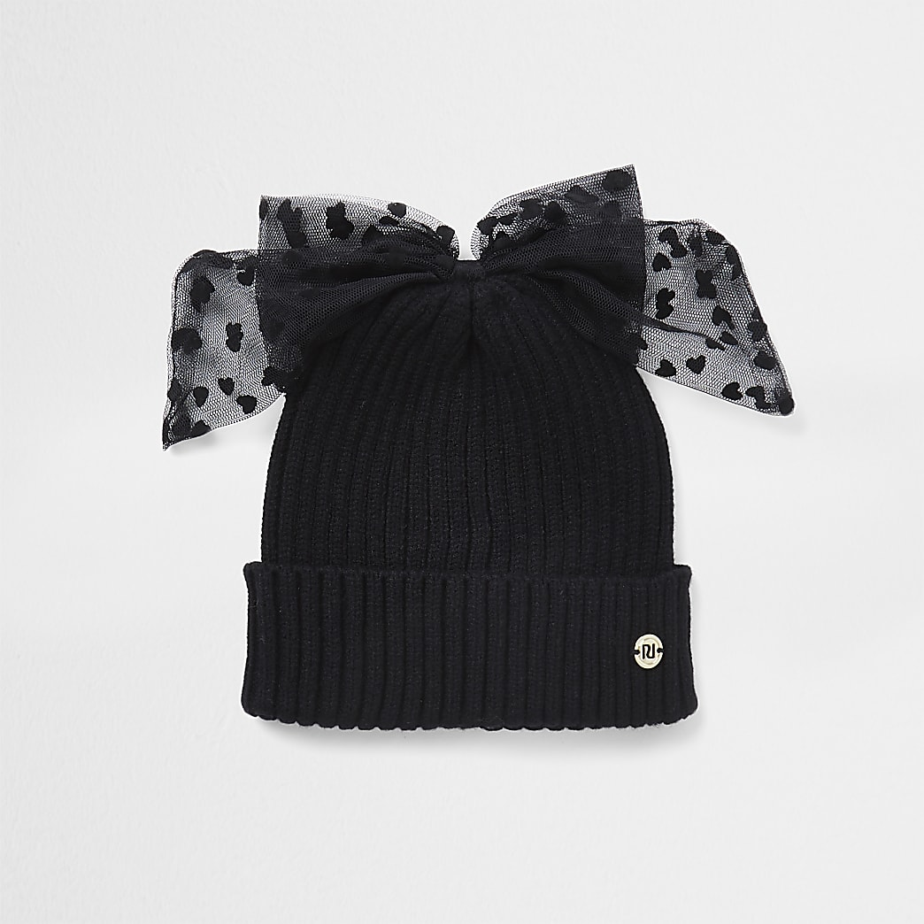 Girls black mesh bow beanie