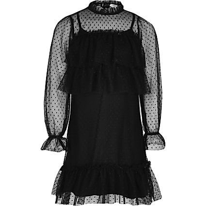 Girls black mesh long sleeve frill dress