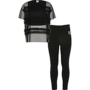 Zwarte outfit met oversized T-shirt van gaas voor meisjes