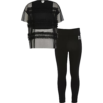 Girls black mesh oversized T-shirt outfit