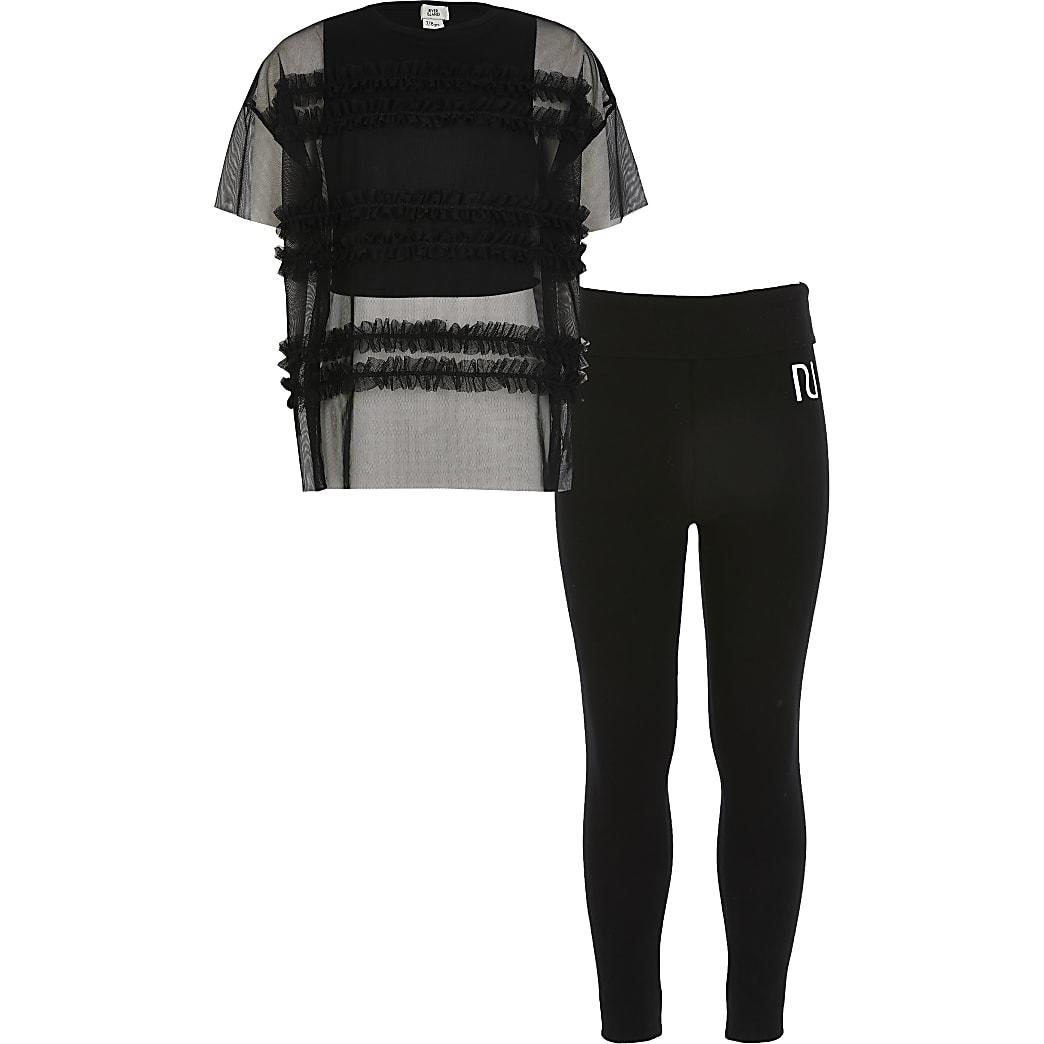 Girls black mesh oversized T-shirt outfit