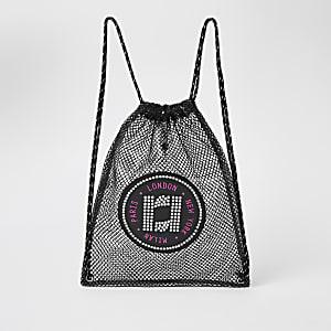 Girls black mesh RI drawstring backpack