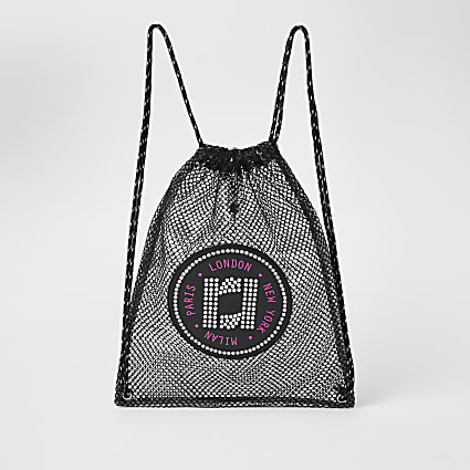 Girls black mesh RI drawstring backpack