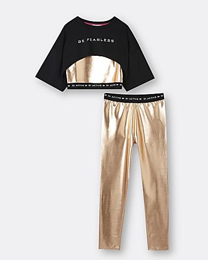 Girls black metallic crop top and legging set