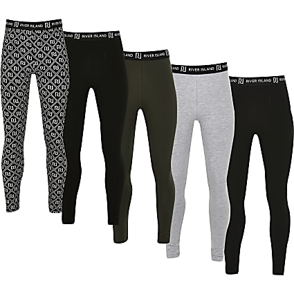 Girls black mixed 5 pack leggings