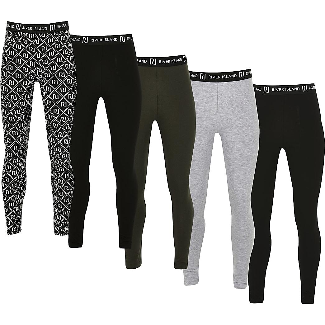 Girls black mixed 5 pack leggings