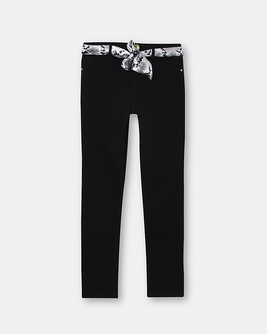 Girls black Molly jeans with snake belt