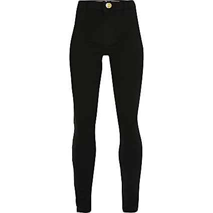 Girls black Molly mid rise jegging