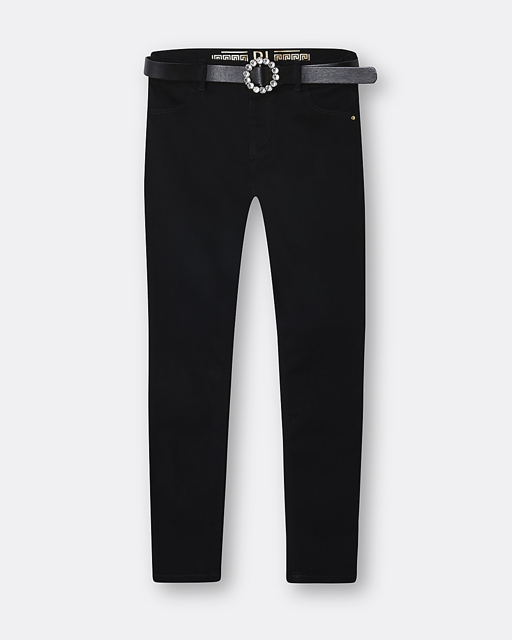 Girls black Molly pearl belted jeggings