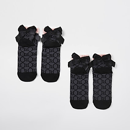 Girls black monogram bow back socks 2 pack