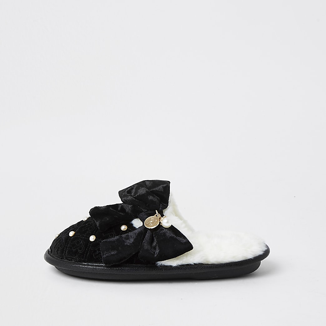 Girls black monogram bow slippers