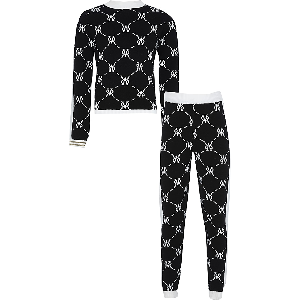 Girls black monogram legging outfit
