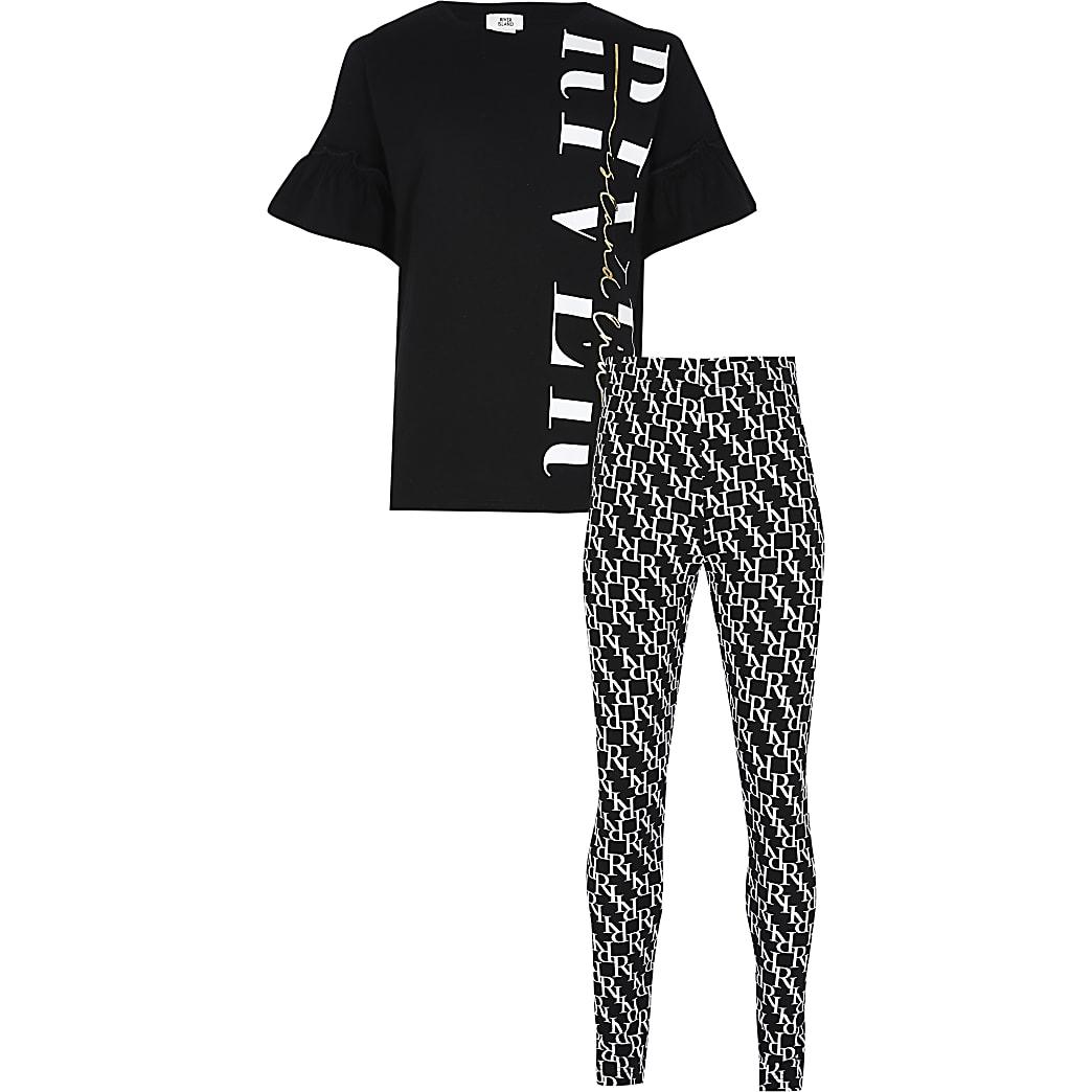 Girls black monogram leggings outfit