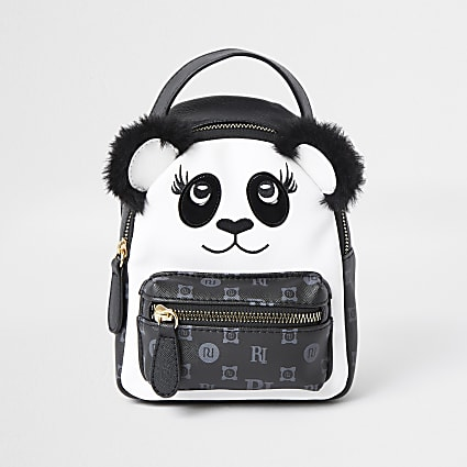 Girls black monogram panda mini backpack