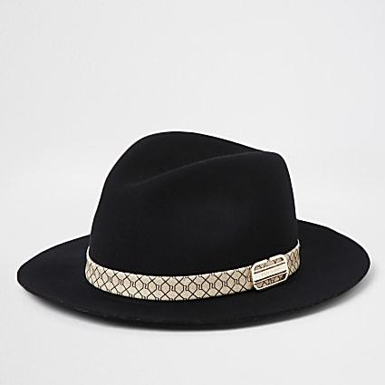 Girls black monogram trim fedora hat