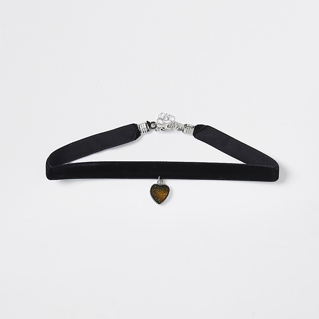Girls black mood heart choker