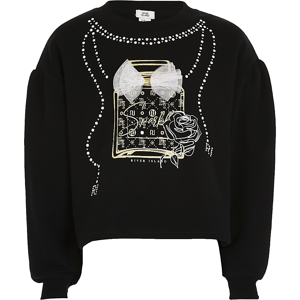 Girls black necklace print bow sweatshirt