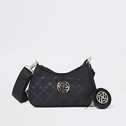Girls black nylon scoop cross body bag