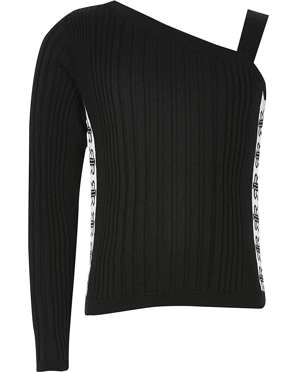 Girls black one shoulder tape side knit top
