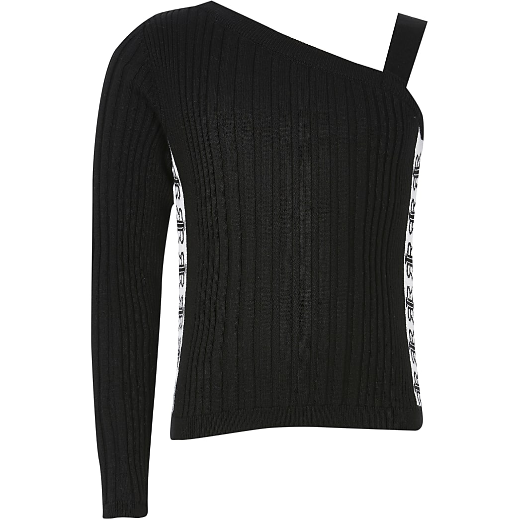 Girls black one shoulder tape side knit top