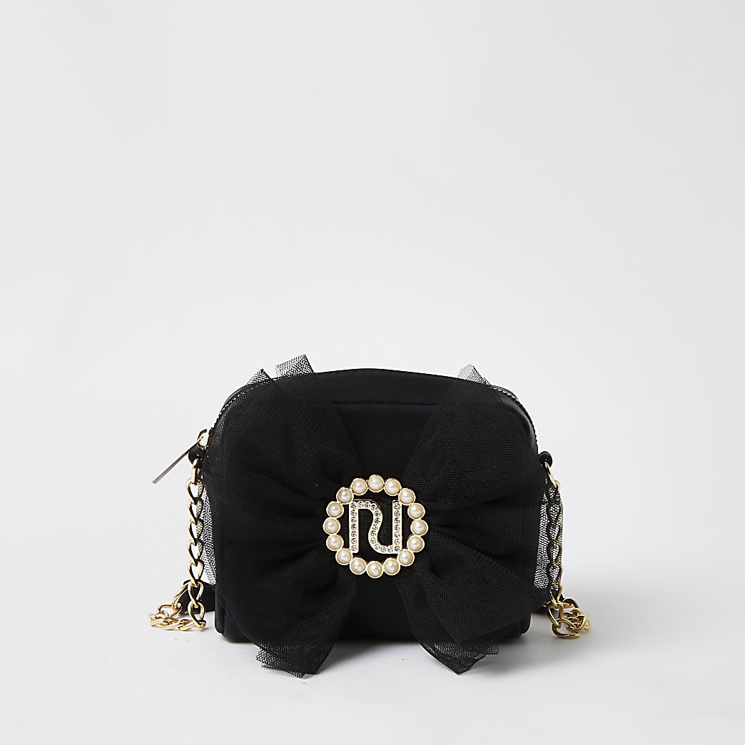 Girls black organza bow cross body bag