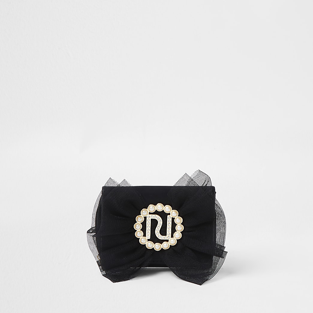 Girls black organza bow purse