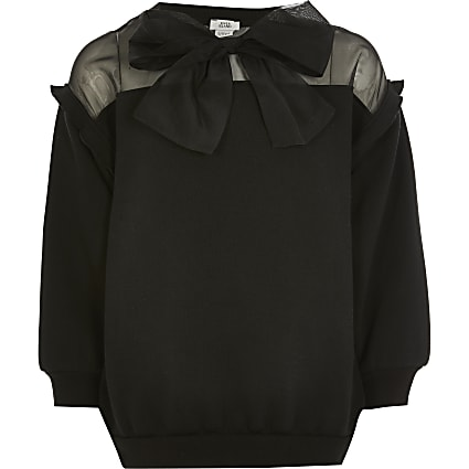 Girls black organza bow sweatshirt