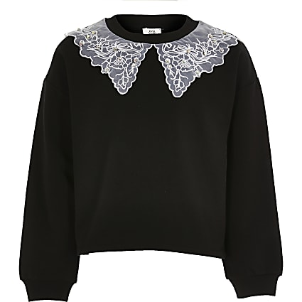 Girls black organza collar sweatshirt