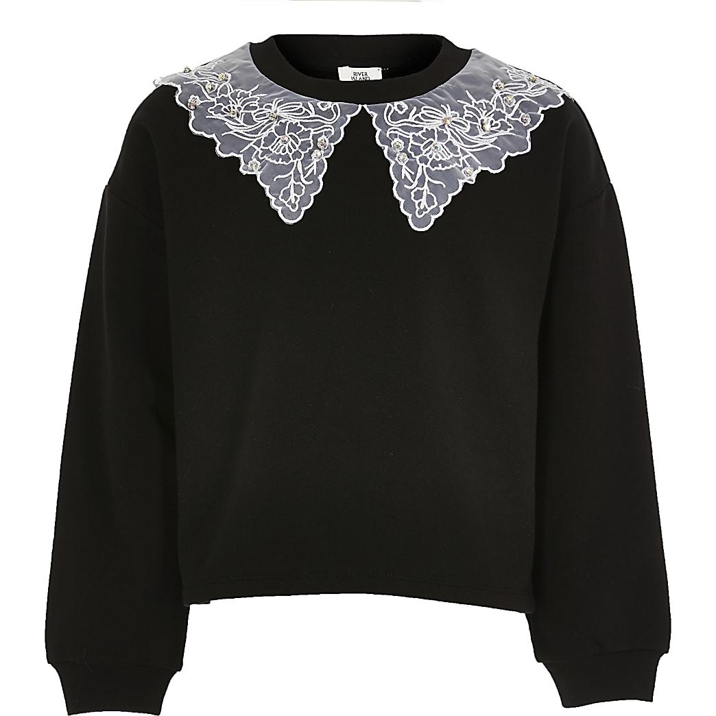 Girls black organza collar sweatshirt