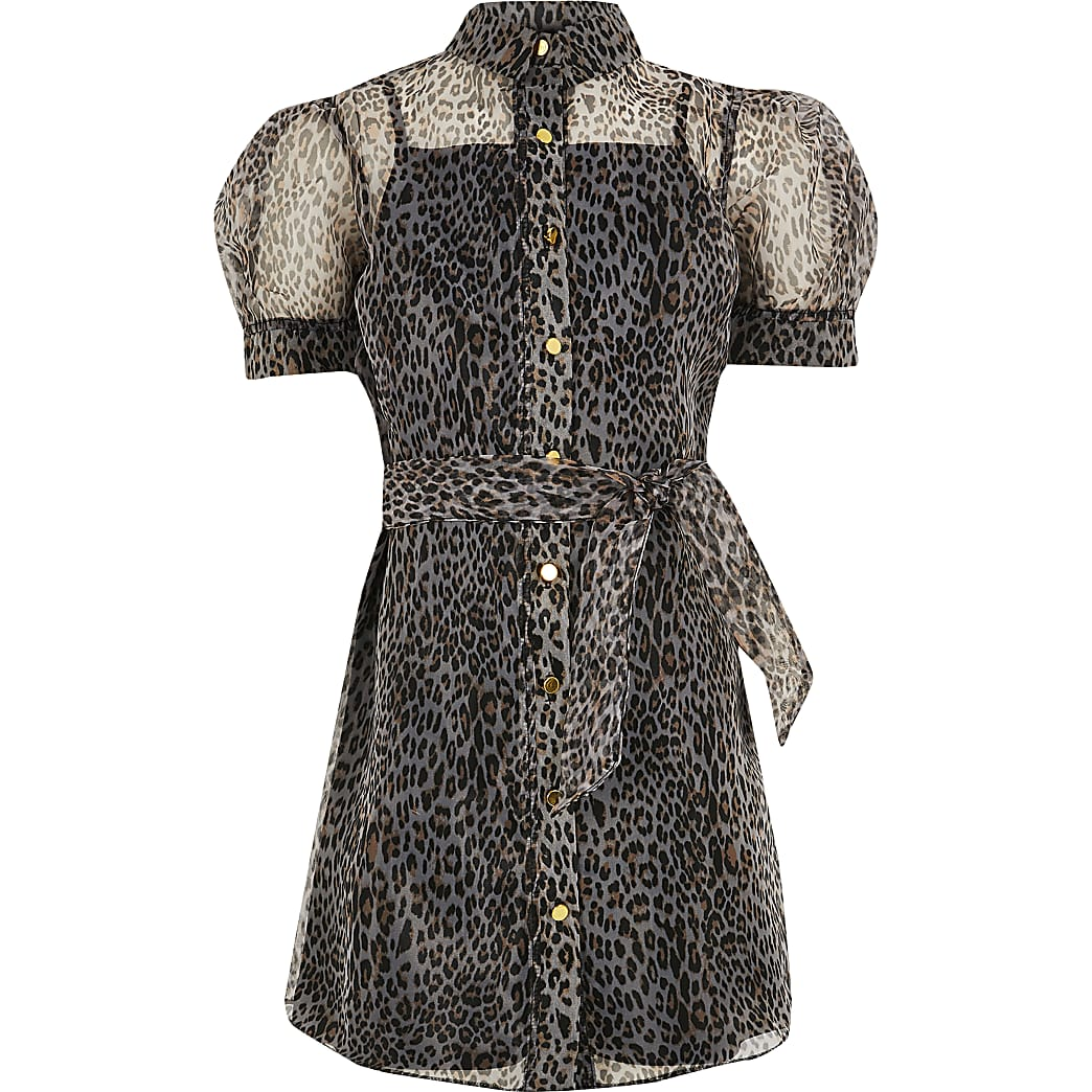 Girls black organza leopard print shirt dress