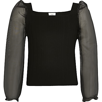 Girls black organza long sleeve knitted top