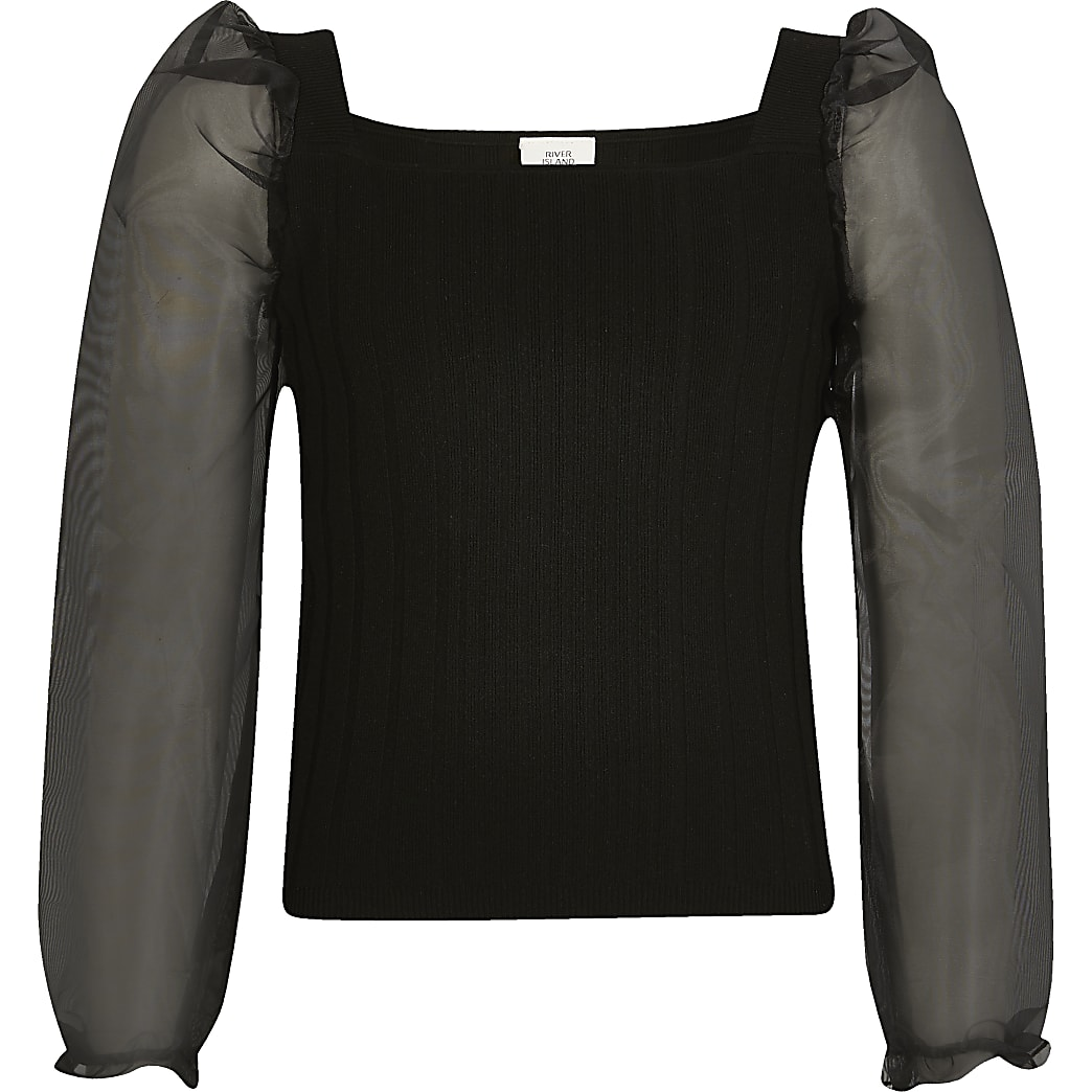 Girls black organza long sleeve knitted top