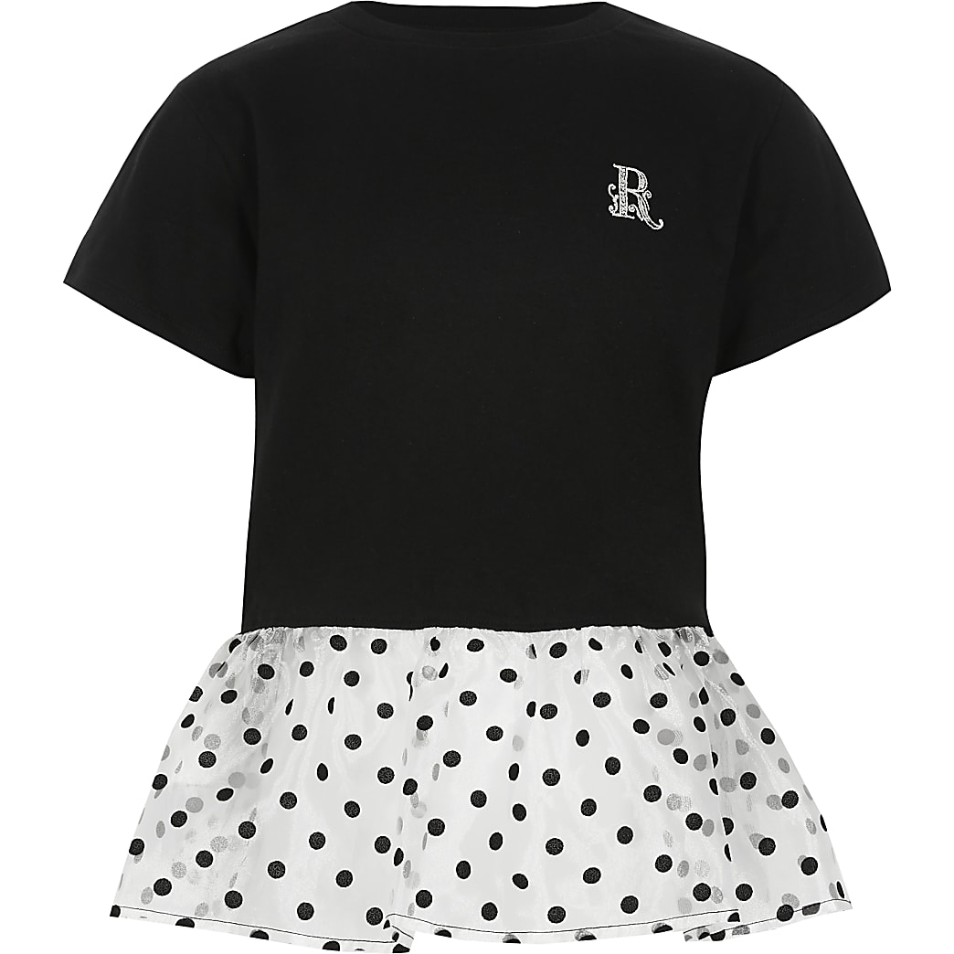 Girls black organza polka dot peplum T-shirt