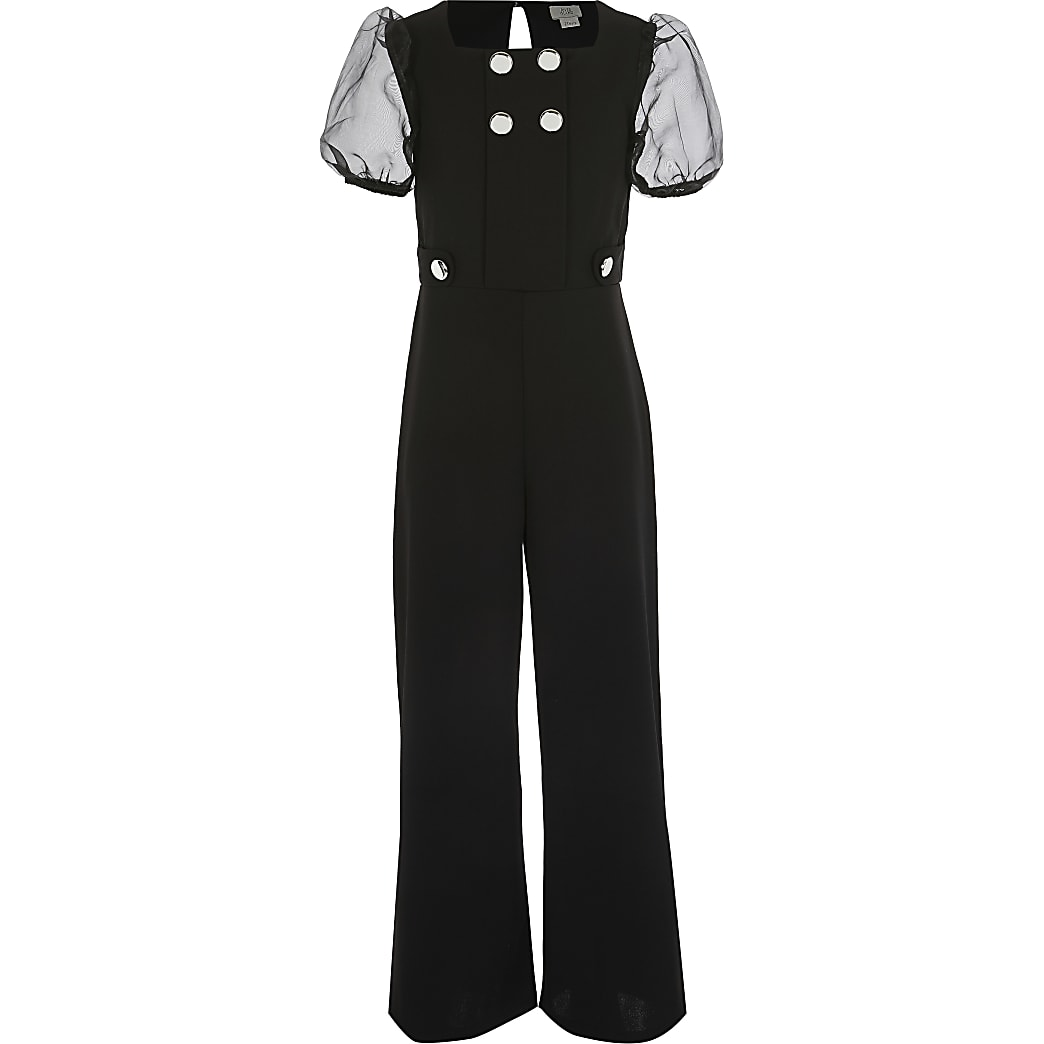 Girls black organza sleeve jumpsuit
