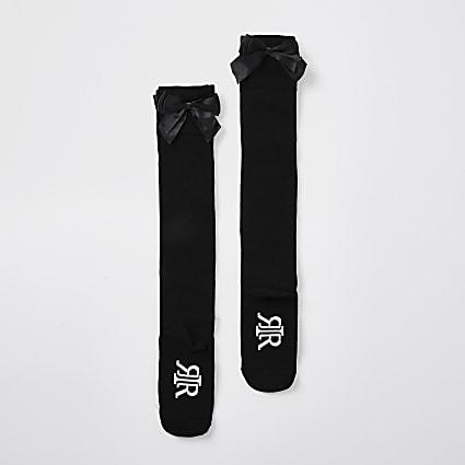 Girls black over the knee bow socks pack