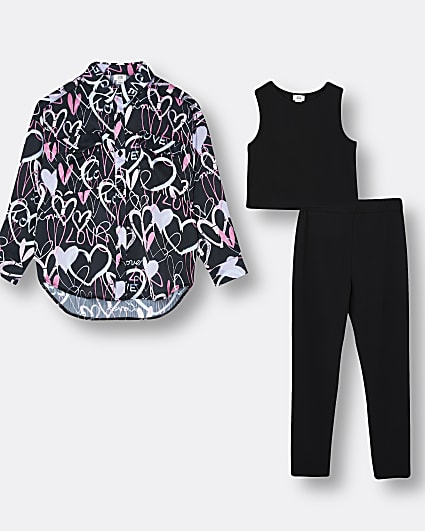 Girls black overshirt top and legging outfit