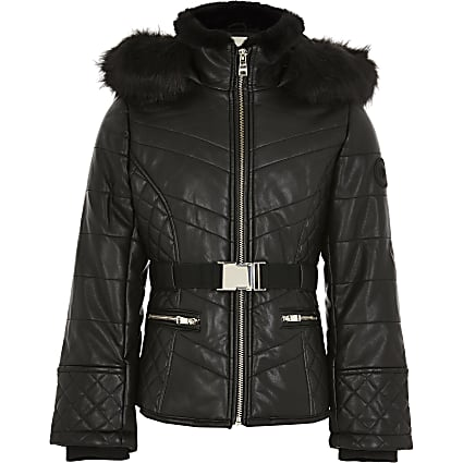 Girls black padded belted jacket