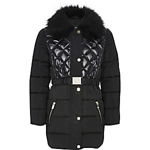 Girls black padded longline belted coat