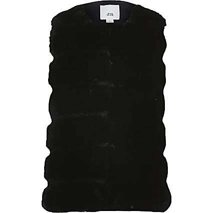 Girls black panelled faux fur gilet