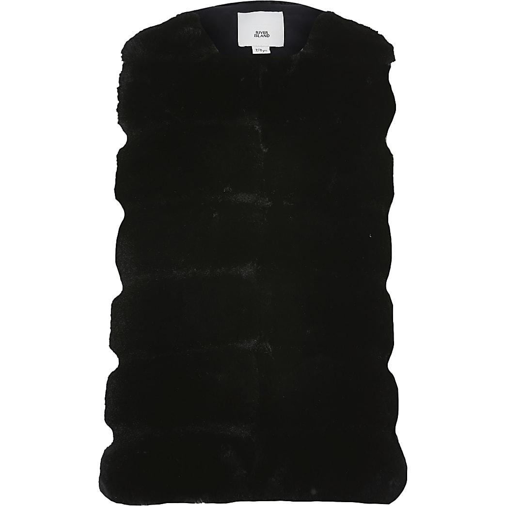 Girls black panelled faux fur gilet