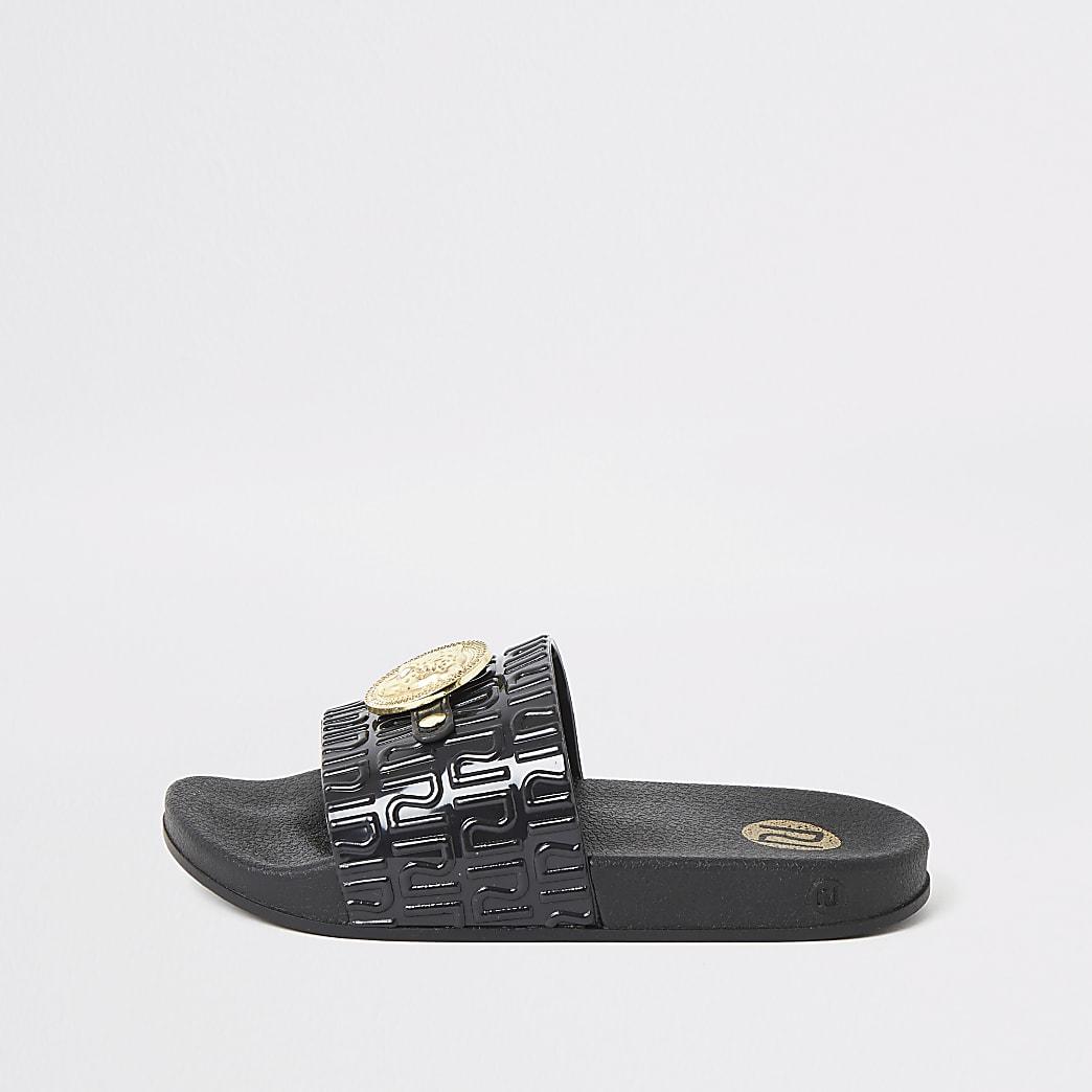 Sandales RI ornées d'une panthère noires pour fille