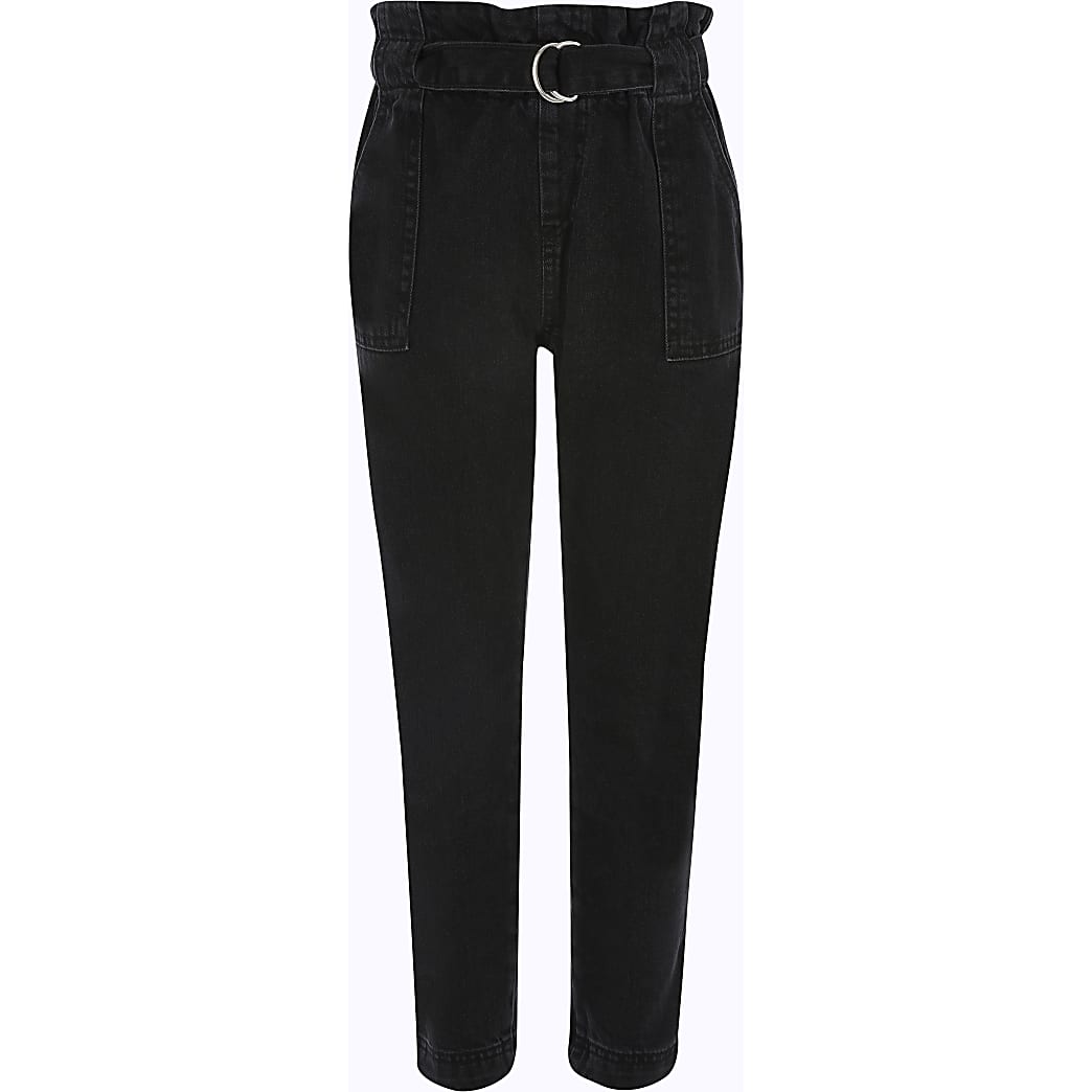 Girls black paperbag waist jeans