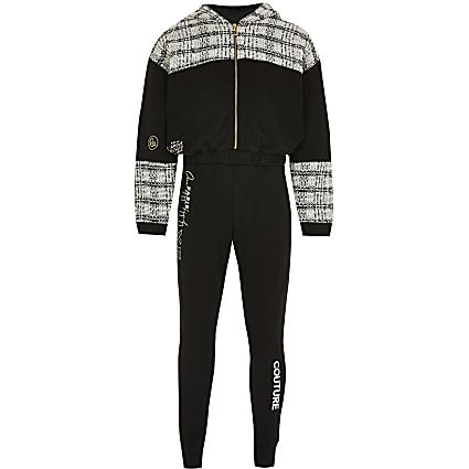 Girls black 'Paris Luxe' hooded jumpsuit