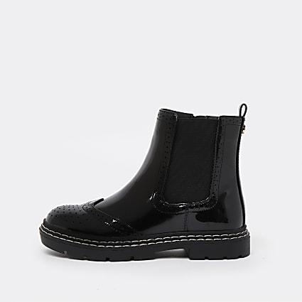 Girls black patent brogue chelsea boots