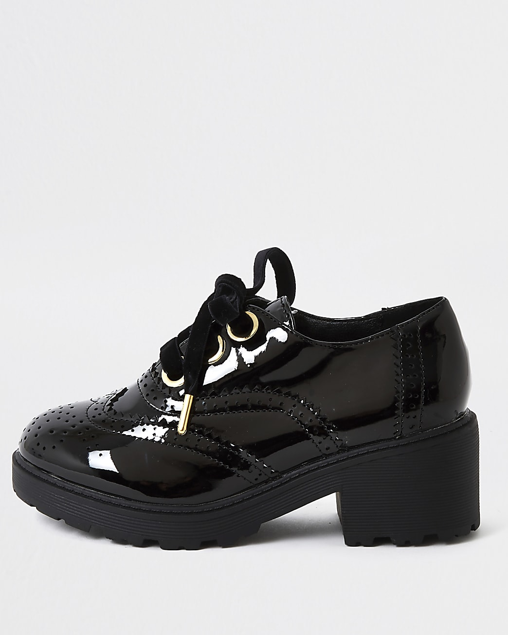 Girls black patent brogue heeled shoe