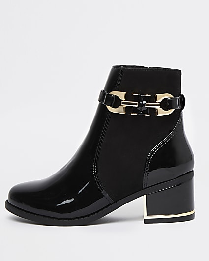 Girls black patent buckle ankle boots