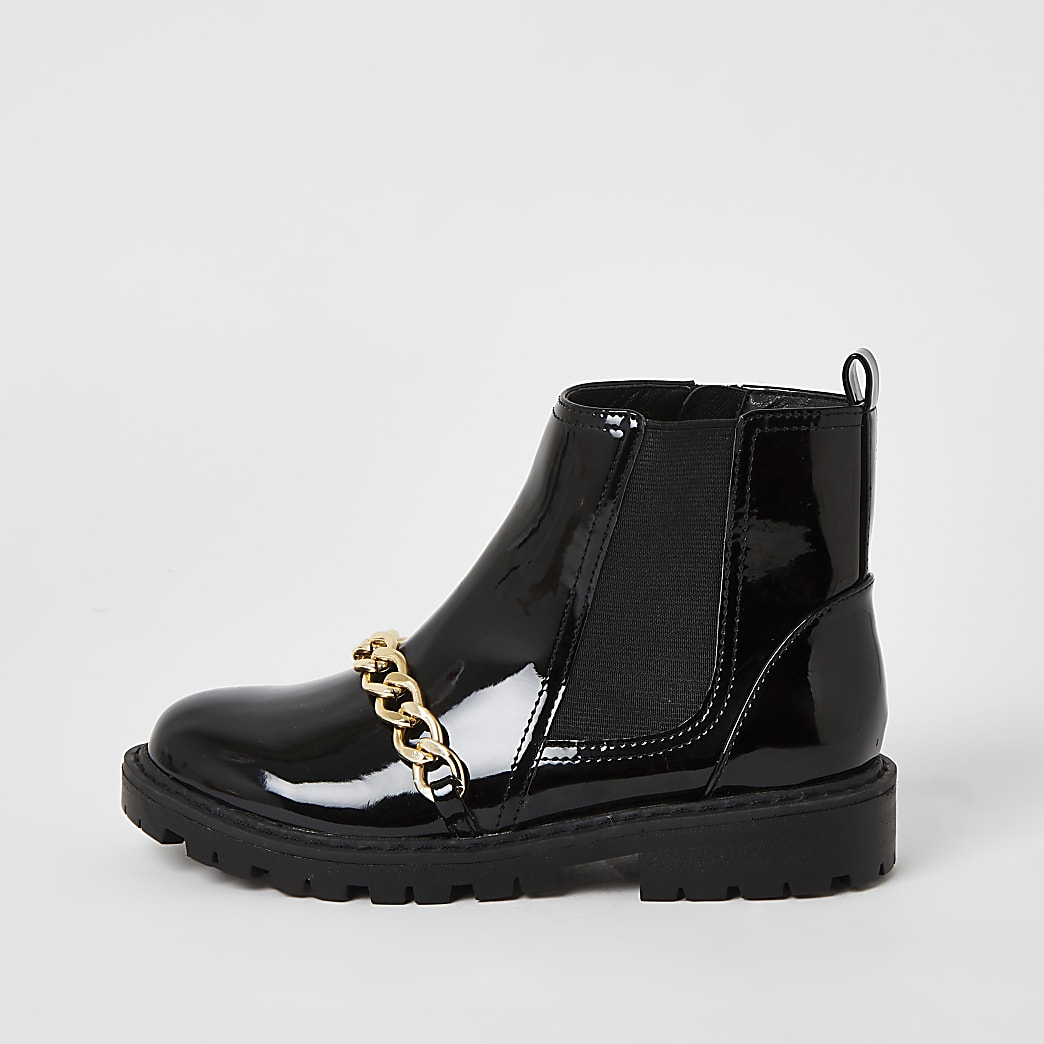 Girls black patent chain strap ankle boots