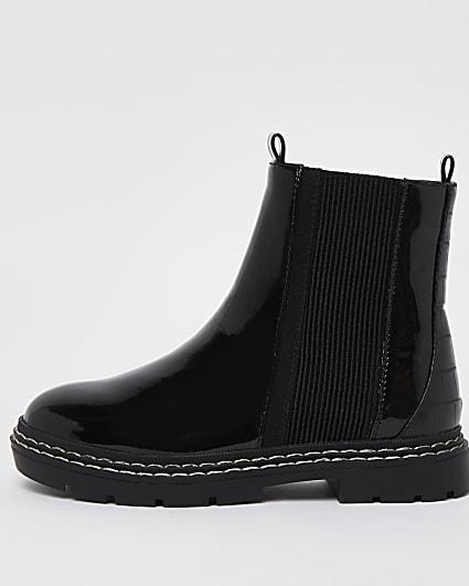 Girls black patent chelsea boots